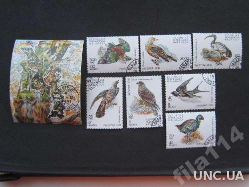 блок+7 марок Мадагаскар 1991 птицы