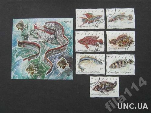 блок+7 марок Танзания 1991 рыбы полная