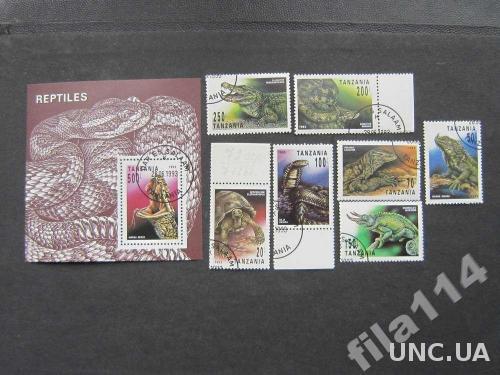 блок+7 марок Танзания 1993 пресмыкающиеся полная