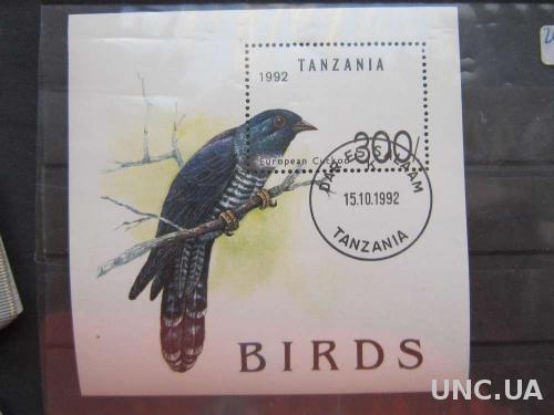 блок Танзания 1992 птицы