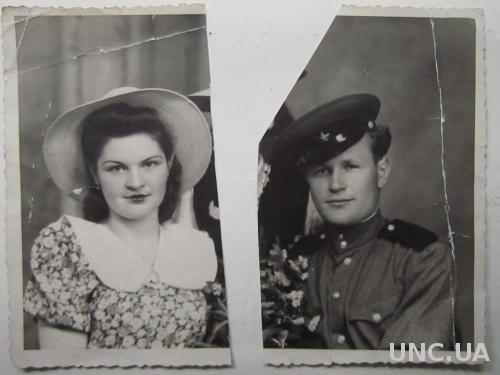 Фото старое 2 фрагмента 1953 год Люция и Андрей