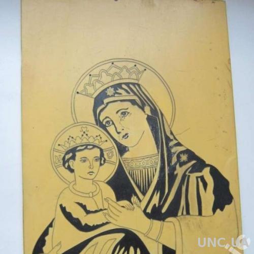 Икона Божья Мать Праворучная Вырезана на пластике
