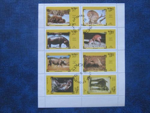 м/лист 8 марок Оман 1973 фауна животные гаш