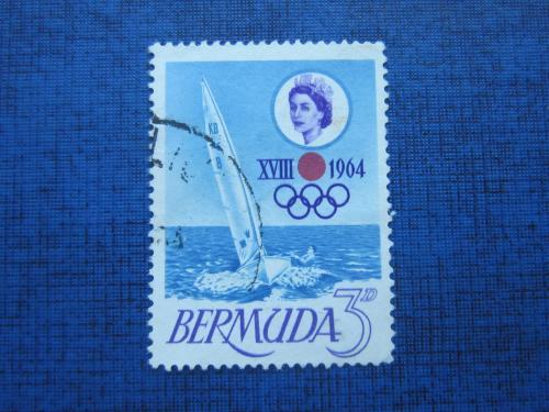 Марка Бермудские острова 1964 транспорт яхта спорт олимпиада гаш