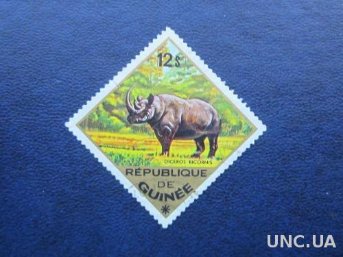 марка Гвинея носорог