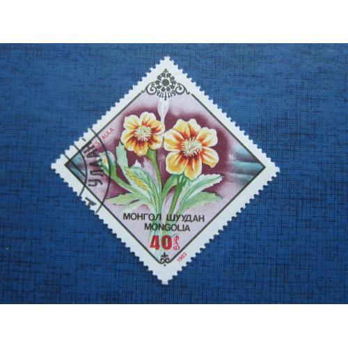 Марка Монголия 1983 флора цветы гаш