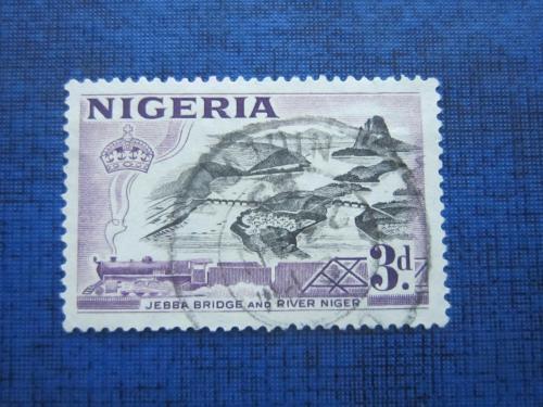 Марка Нигерия 1953 паровоз поезд мост через Нигер гаш