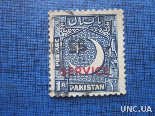 Марка Пакистан 1948 стандарт надпечатка 1 анна гаш
