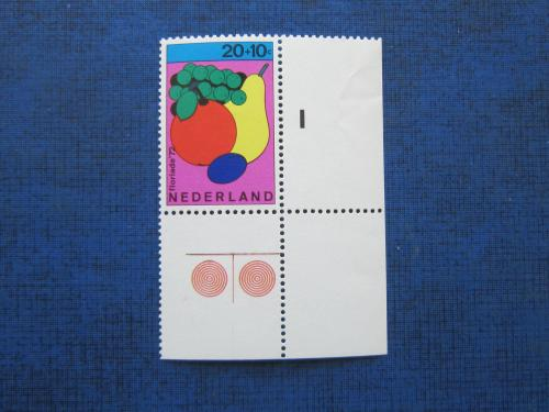 Марка с полями Нидерланды 1972 флора фрукты MNH