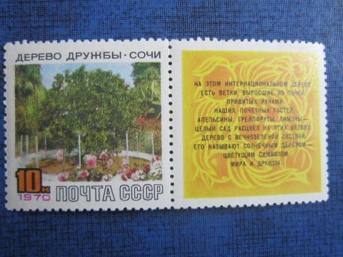 марка СССР 1970 дерево дружбы Сочи н/гаш