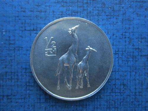 Монета 1/2 пол чон Северная Корея КНДР 2002 фауна жираф состояние