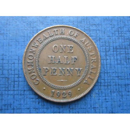 Монета 1/2 пол пенни Австралия 1929