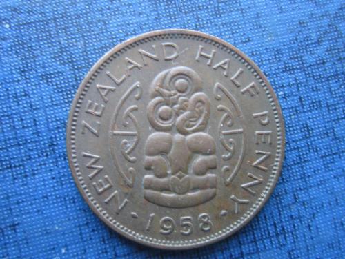 Монета 1/2 пол пенни Новая Зеландия 1958 состояние