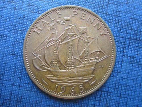 Монета 1/2 пол пенни Великобритания 1965 корабль парусник