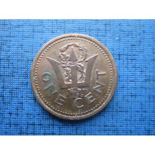 Монета 1 цент Барбадос 1987