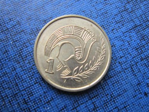 Монета 1 цент Кипр 1998 фауна птица