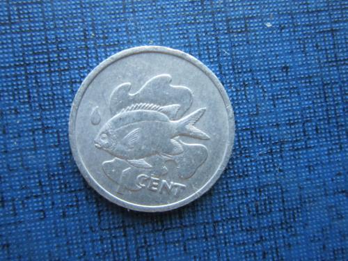 Монета 1 цент Сейшельские острова 1977 фауна рыба редкая