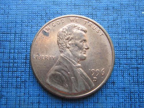 Монета 1 цент США 1996 D