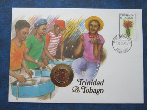 Монета 1 цент в конверте марка гашение Тринидад и Тобаго флора фауна птица