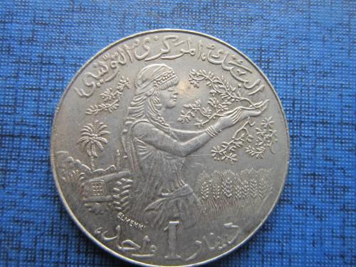 Монета 1 динар Тунис 1990