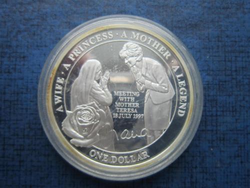 Монета 1 доллар Остров Ниуэ Британский 2011 Леди Диана и Мать Тереза пруф серебро состояние