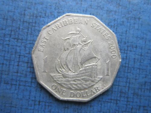 Монета 1 доллар Восточно-Карибские штаты Британские Карибы 2000 корабль парусник