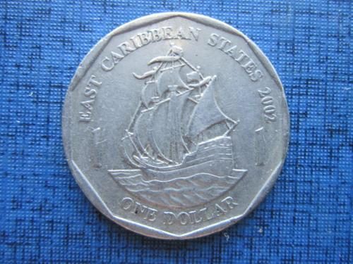 Монета 1 доллар Восточно-Карибские штаты Британские Карибы 2002 корабль парусник
