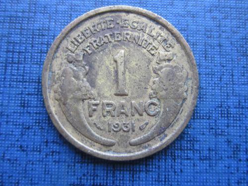 Монета 1 франк Франция 1931