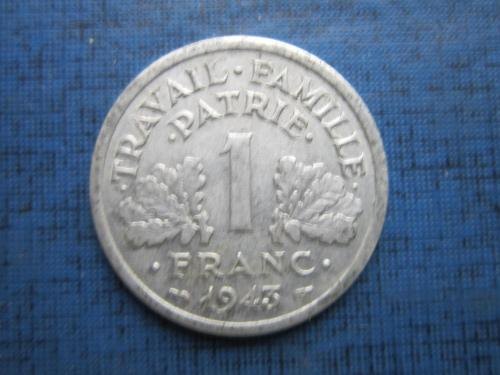 Монета 1 франк Франция 1943