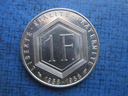 Монета 1 франк Франция 1988 Шарль де Голь