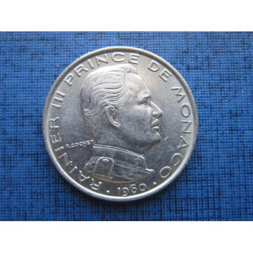 Монета 1 франк Монако 1960