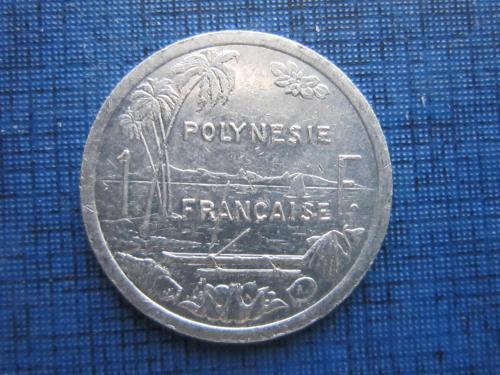 Монета 1 франк Полинезия Французская 1996 корабль лодка