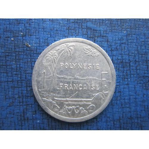 Монета 1 франк Полинезия Французская 2003 корабль лодка