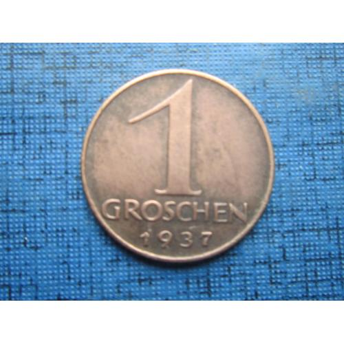 Монета 1 грошен Австрия 1937 фауна орёл