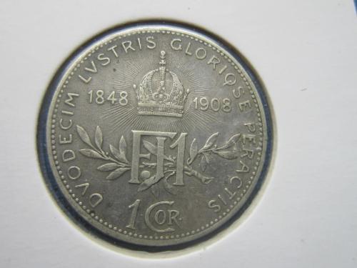 монета 1 корона Австро-Венгрия 1908 юбилейка 60 лет правления серебро