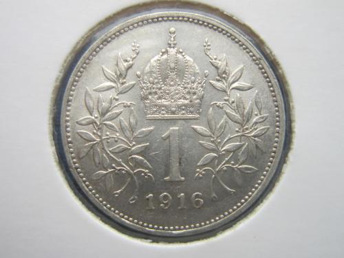монета 1 корона Австро-Венгрия 1916 для Австрии серебро состояние