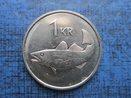 Монета 1 крона Исландия 1989 фауна рыба