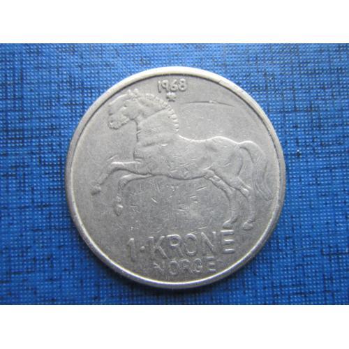 Монета 1 крона Норвегия 1968 фауна лошадь