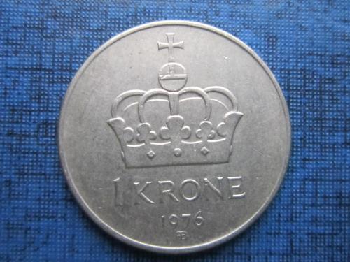 Монета 1 крона Норвегия 1976
