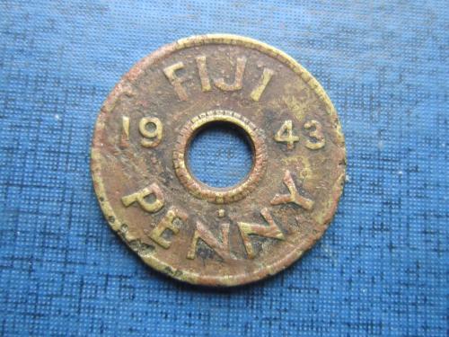 Монета 1 пенни Фиджи Британские 1943 как есть