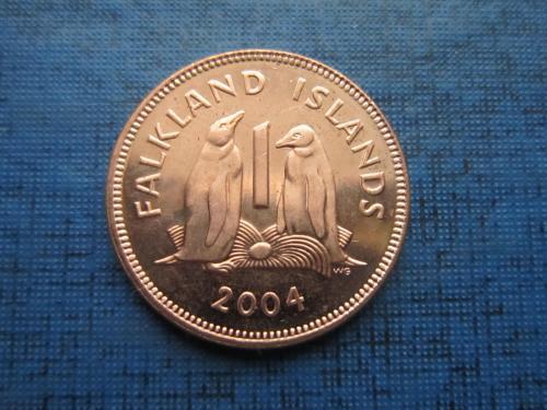 Монета 1 пенни Фолклендские острова Фолкленды Великобритания 2004 фауна птицы пингвины