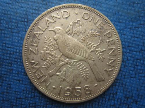 монета 1 пенни Новая Зеландия 1958 фауна птица