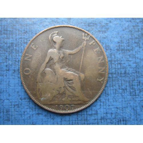 Монета 1 пенни Великобритания 1907