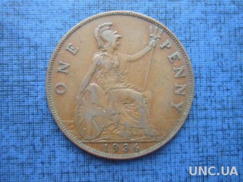 монета 1 пенни Великобритания 1936