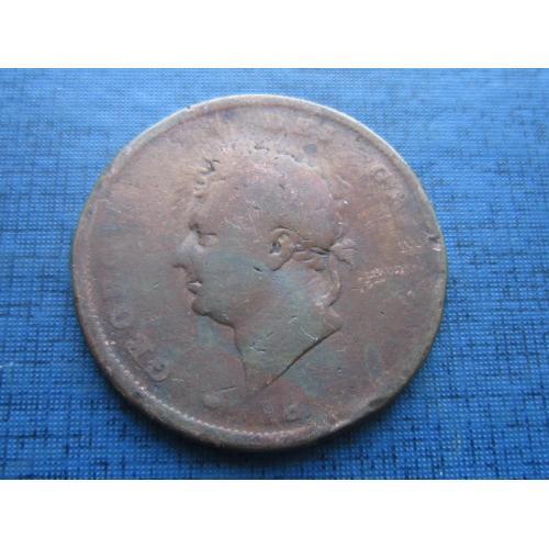 Монета 1 пенни  Великобритания Англия 1824-1827 Георг IV как есть