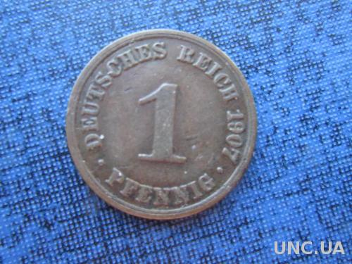 монета 1 пфенниг Германия 1907 А