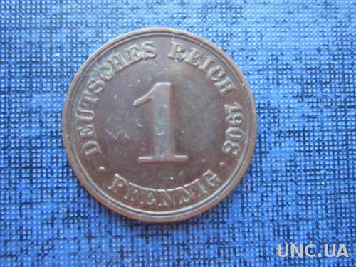 монета 1 пфенниг Германия 1908 А