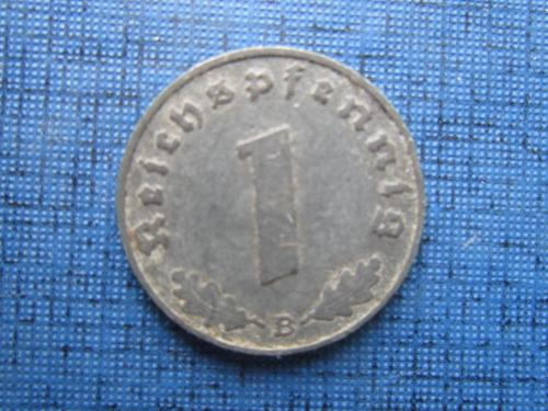 Монета 1 пфенниг Германия 1941 В Рейх свастика цинк
