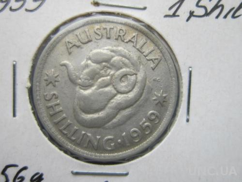 монета 1 шиллинг Австралия 1959 фауна баран овца серебро