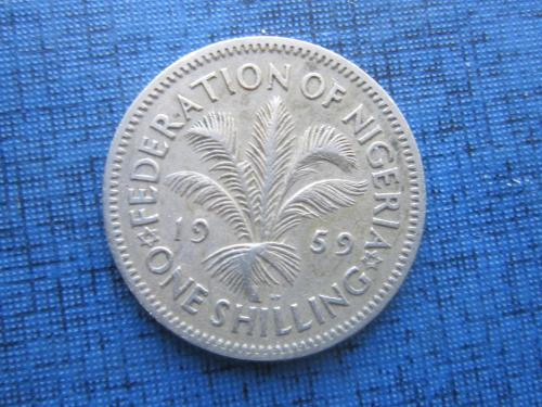 Монета 1 шиллинг Нигерия Британская 1959